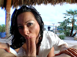Sandra Romain gets her mouth and cunt decently banged in Point of view clip