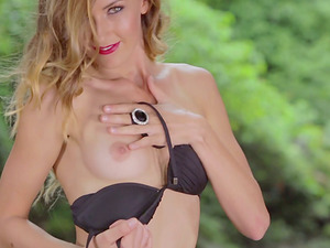 Glamour Solo Model Does Erotic Photo Shoot By A Pond in Black Bathing suit