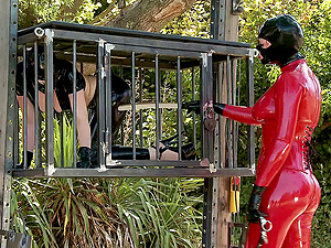Kinky leather have fun with some hot outdoor lezzie restrain bondage