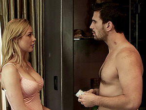 Spunk in mouth for Kayden Kross with natural tits after Gonzo fucking