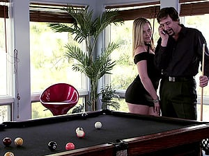Greased-up blonde with a hot butt liking a gonzo fuck on a rubdown table