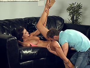 Bikini-clad porno starlet with a sexy tattooed assets lovin? a xxx fuck on her sofa