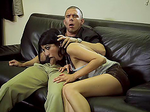 Kimberly Gates gives head to a boy and lets him fuck her twat