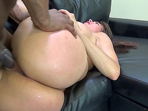 big black penis takes share of lovely cowgirl with faux tits