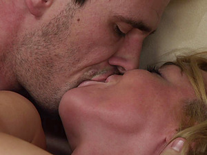 Kayden Kross gives head to a man and lets him smash her vagina