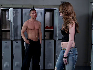 Faye Reagan gets her coochie fucked deep in the locker room
