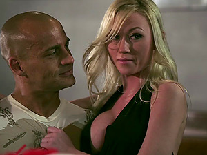 Blonde honies Jesse Jane and Madison Scott share a boner in a bar