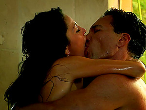 Audrey Bitoni gets penetrated in a hard-core douche bang scene
