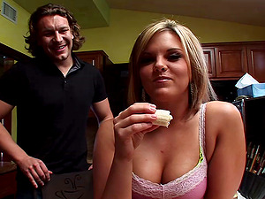 Foot fetishing honey gets drilled in threesome clip after dual deep throat