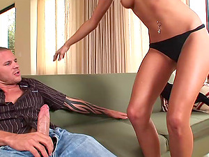 Cayton Caley lets a man spunk on her booty after they bang in cowgirl pose