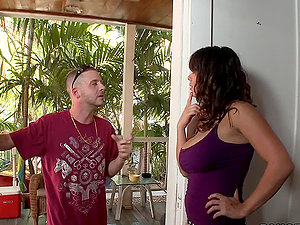 A stud fucks his big-titted neighbour in all positions and she likes it