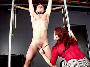 Hard-core ball busting activity with nasty Madeleine Clavel