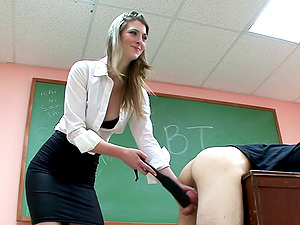 Sexy lecturer spanks a dude's butt and pulls him by the testicles
