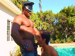 Muscular black homo smashes a dude's asshole with his mighty rod