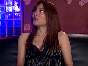 Adorable Japanese cougar in high high-heeled shoes takes on two schlongs in a wild threesome