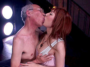 Japanese bitch Tsubasa Amami gives a suck off to a lewd old man