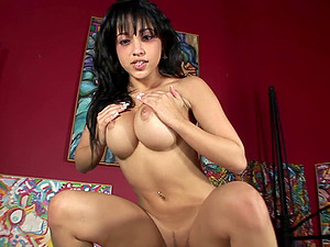 Exotic dark-haired with big tits displaying her hot donk while railing massive python gonzo