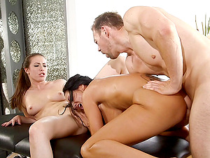 Adorable cunt munchers suck dick and gets fucked in bisexual threesome