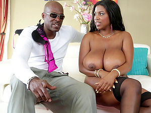 Sexy converse with gigantic tits black chick Maserati XXX on the couch
