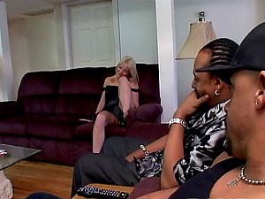 Blonde jizz-shotgun sucker gets her snatch Double penetration fucked with two black schlongs