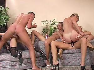 Ass-fuck tarts sucking jizz-shotgun and getting their cunts waxed in orgy