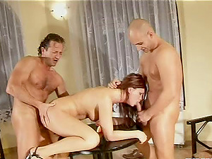 Her talented mouth gags on jizz-shotgun and her asshole gets pummeled