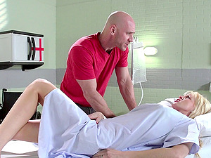 Medic fucks a patients hubby in front of her and takes a jizz flow