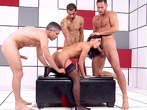 Adriana Chechik group sex with three dicks pounding her