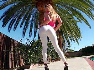 A sexy stunner's donk is fucked until it is nothing but a wide open fuckhole