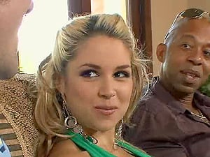 Dirty blonde fuckslut with big tits fucking a black hunk in front of her kinky beau