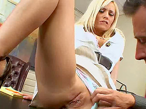 Fresh blonde assistant introduced to her fresh sexual duties