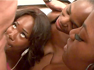 Three black gals have a four way with a milky dude and interchange his jism