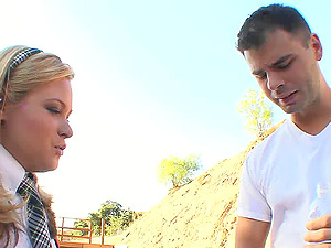19 year old blonde cutie practices her very first gonzo fuck-a-thon