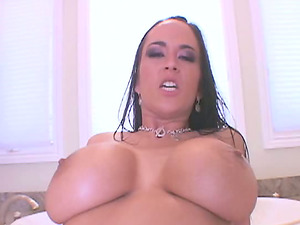 Cougar tramp with amazing big tits gets fucked in the bathroom