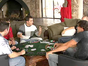 Dark haired hoe gets gang-fucked by a group of dudes after poker