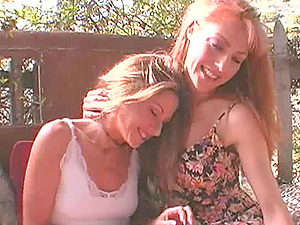 Foxy sandy-haired and her lusty lezzie friend finger banging outdoors