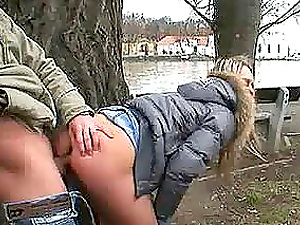 Teenage Getting Fucked Doggystyle Outdoors