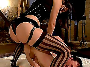 Bitch arse black-haired doll wields that hard penis harsh
