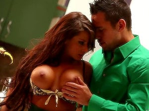 Big-titted black-haired Madison Ivy gets fucked in the kitchen