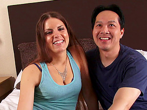Asian dick pounding a adorable dark-haired's cunt on a cushion