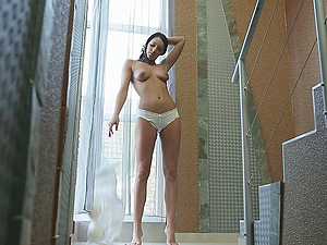 Sweetheart is horny in the morning and voluptuously masturbates her labia