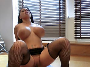 Brit adult movie star Kerry Louise is a curvy shaft bi-atch in fishnets
