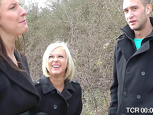 Arousing mmf threesome act with two enchanting Brit chicks