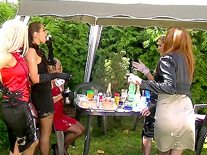 Pulsing three hot and classy chicks at a back yard soiree 3