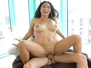 Big-titted stunner is railing on a mexican manstick and her big titties are bouncing