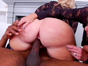 Mature blondes taste each others butt from a big black jizz-shotgun