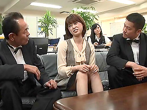Everyone in the office gathers to observe the Japanese female get fucked