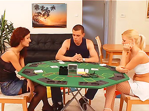 Unclothe poker with a dude and two hot bitches turns into a threesome
