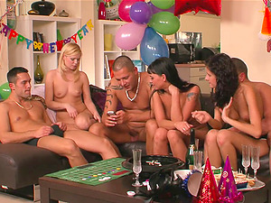 Bday nymph gets the best bounty ever, a hard-core orgy