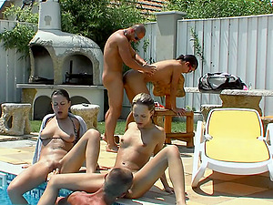 Pool soiree with some hot biki honies becomes an orgy